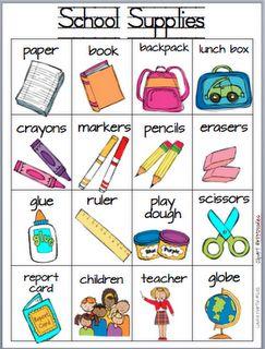 Es un papel libro mochila bolsa del almuerzo crayones marcadores lápiz gomas de borrar pegamento regla tijeras. Me gusta la marca Walmart.