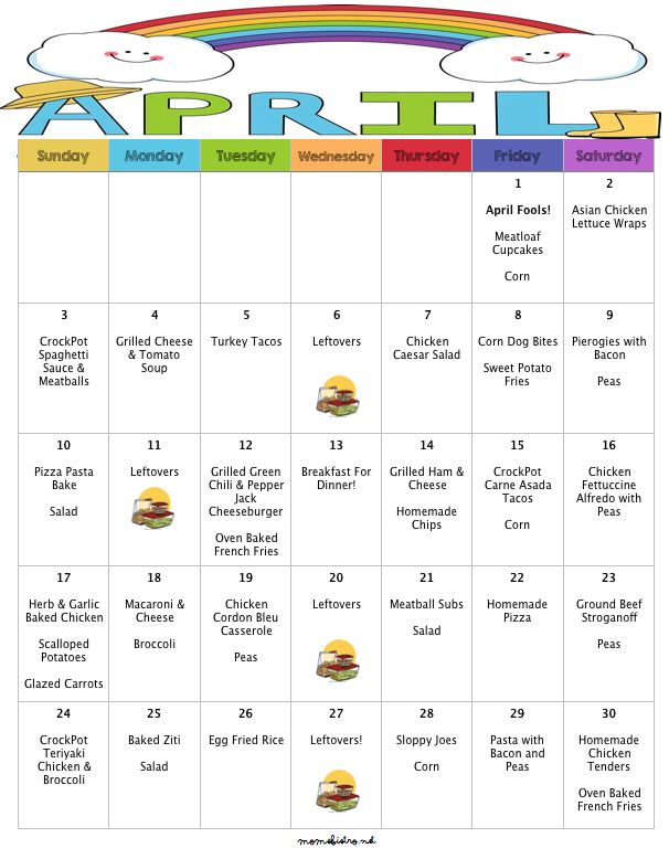 30 Days of Kid Freidnly Dinners with FREE printable grocery list and recipes for $231!  April 2016 Menu Moms Bistro Budget