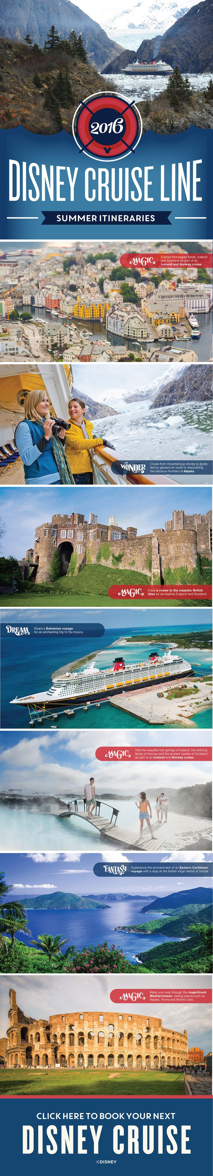 In the summer of 2016, Disney Cruise Line is setting sail to more than 15 European countries, including our first ever British Isle cruise, visiting Scotland, Ireland, England and France! Click to learn more about this exciting destinations.