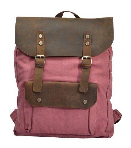 Canvas Genuine Leather Travel School College Backpack Rucksack iPad Bag