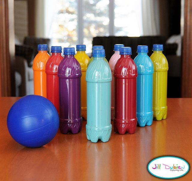 water bottle bowling. Take empty plastic bottles, and 10 shades of craft paint. Add a little water if your paint is not very runny, cover, and shake. Pour out excess paint and let dry overnight. You can glue gun the caps on. Add a foam ball, and wallah!