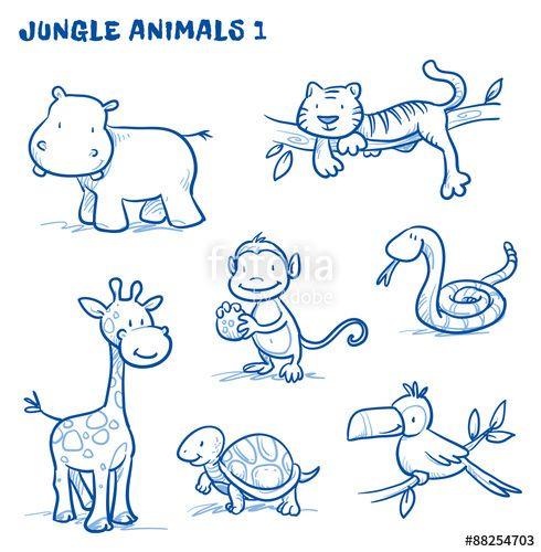 Vektor: Cute cartoon jungle, safari animals. hippo, tiger, giraffe, monkey, snake, tortoise, bird, tucan. Hand drawn doodle vector illustration.