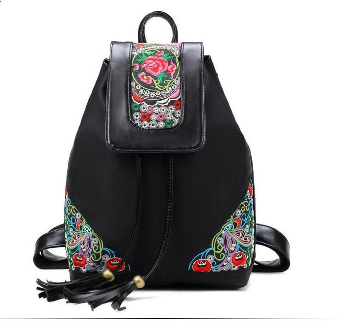 Embroidery & Tassel Backpack Fabra 2 colors (black, blue) – Floral Cat