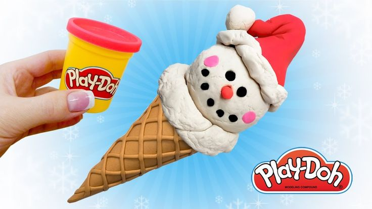 Play Doh Ice Cream Snowman. Make Funny Food Out of Play Doh DIY. Art and...