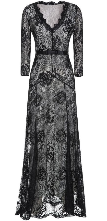 Black Long Sleeve Lace Evening Prom Maxi Dress