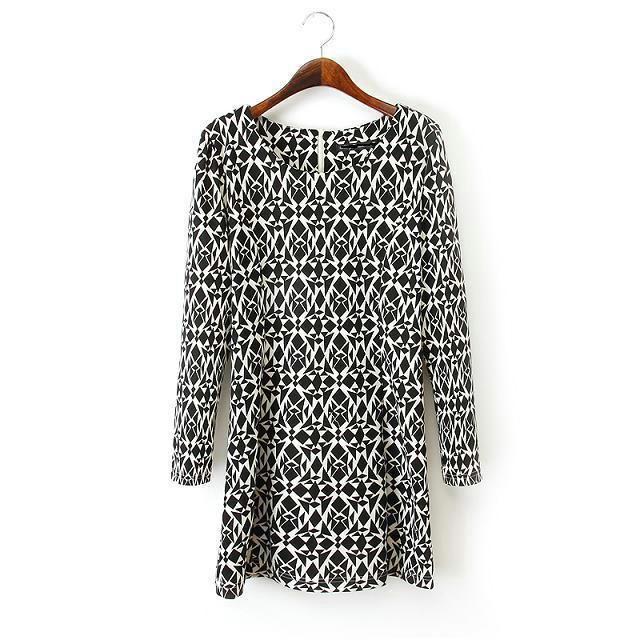 New Fashion Ladies Elegant brief Geometric print loose Dress Vintage O neck long sleeve casual dress