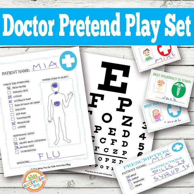 Doctor Pretend Play #Printables #EFL @4kidsactivities // Imprimibles para el juego dramático en #ILE