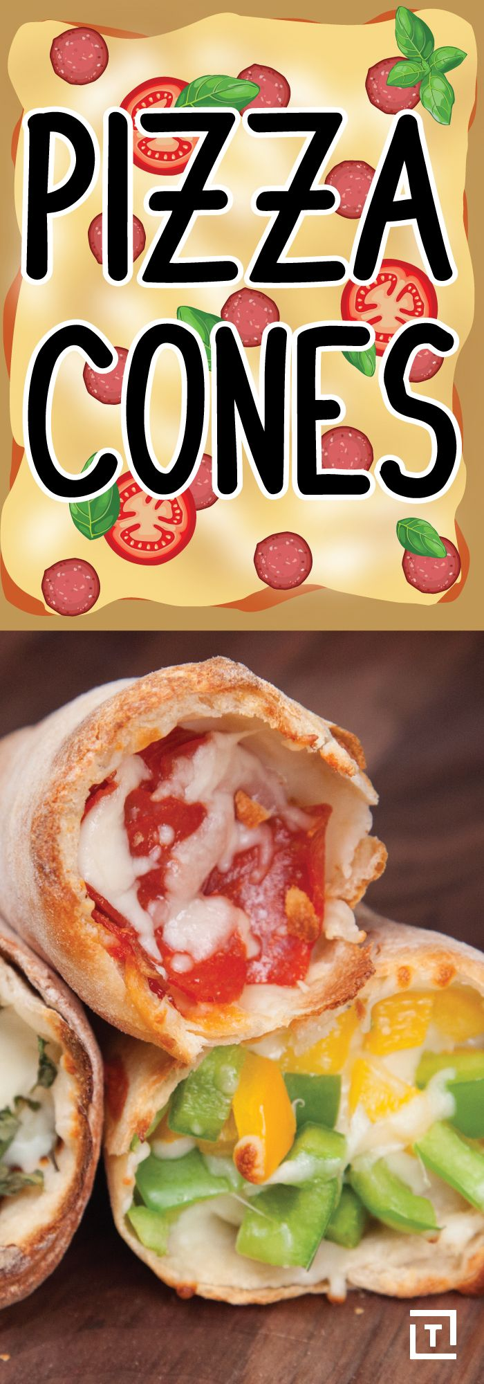 We think rolling up pizza into savory cones is the best thing to happen to pizza since, well, pizza. Food Steez is showing us how to make pizza cones at home by rolling up mozzarella, pepperoni, bell peppers, and marinara, into a cone that's sure to satisfy any appetite.
