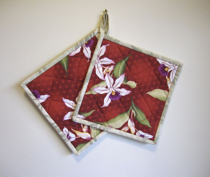 """Quilted Potholders """"White and Purple Orchid on Red"""" Set of 2 Hotpads, Quiltsy Handmade, Fabric Trivet, Floral Pot Holder, Exotic Orchid by OrchidFabricDecor on Etsy"""