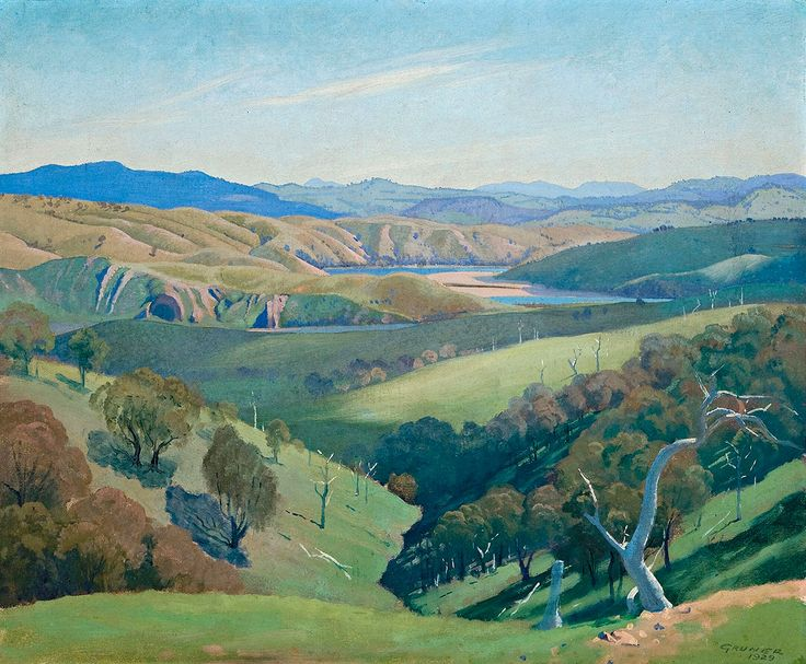 "gruner elioth study for on the murrumbidgee 1929 sotheby (from <a href=""http://www.oldpainters.org/picture.php?/26829/category/10492""></a>)"