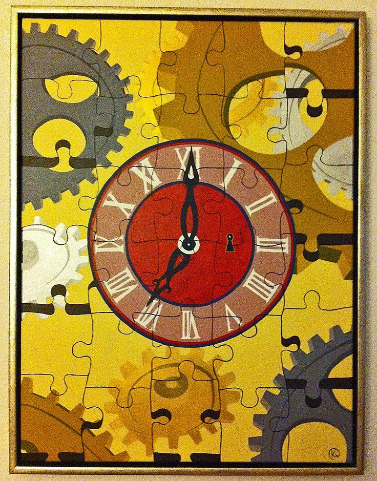 """Titel """"Puzzle of Time"""" 80x60 cm. Acrylic Colors"""