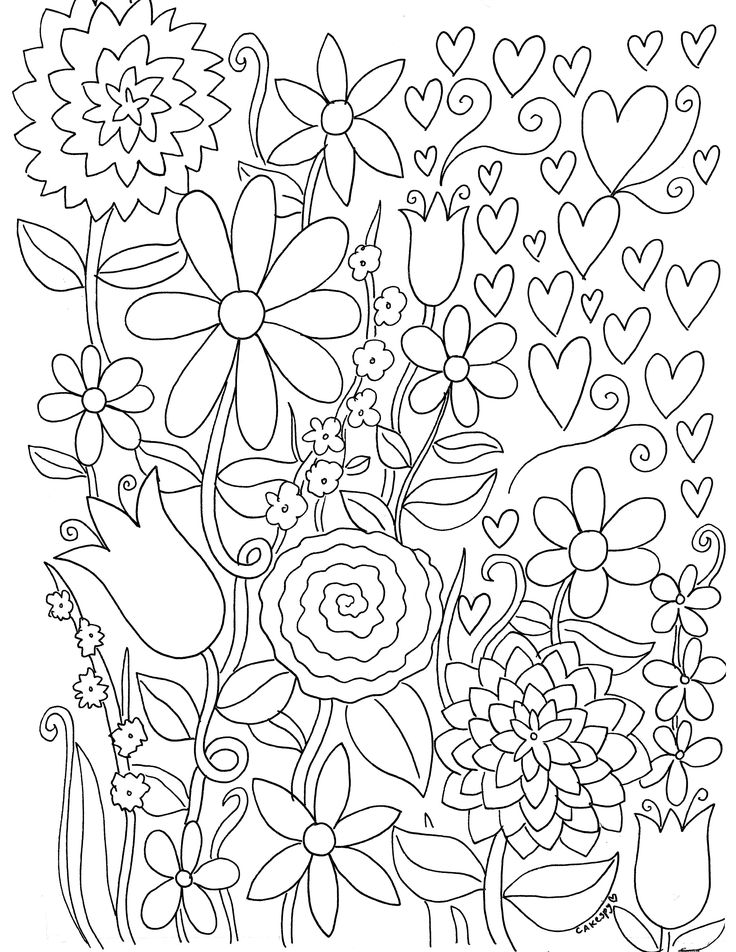 Free Coloring Book Pages for Grown-Ups: Fanciful Florals