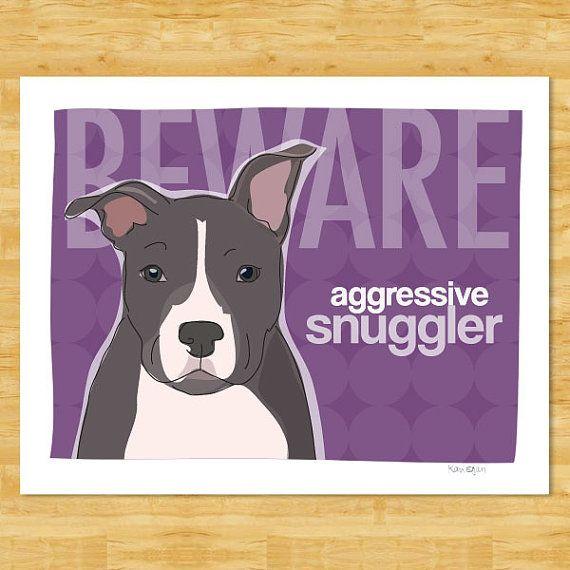 Pit Bull 8x10 Print Modern Dog Art  Beware Aggressive by PopDoggie, $18.00