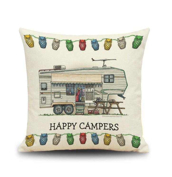 1PC 45*45cm Cute Loving Throw Waist Pillow Case Happy Cartoon Campers Truck Furniture Throw Pillow Cover