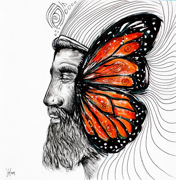 El Monarca [by Sofia Castellanos ©] on Behance Technique: Acrilyc & pencil by Sofia Castellanos © #art #painting #king #finearts #illustration #magic #butterfly #orange #magic #mystery