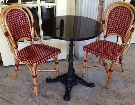 The strong durable weather resistant chairs have remained a Cafe Bistro Dining Chair since the 19th century. Description from decormorehospitality.com. I searched for this on bing.com/images