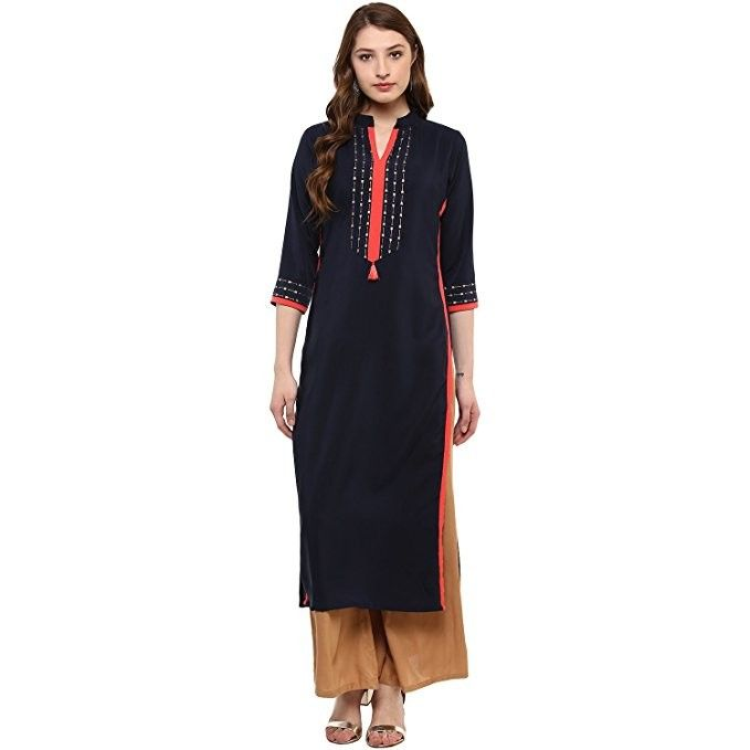 15fb9c1529d Women s Blue Colour 3 4Th Sleeve Crepe Straight Kurta