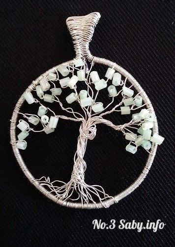 Wire Tree Pendant No.3 Silver wire with light green rods. (4 cm) Hand made by Sabine Stroo - van de Flier. Sold.