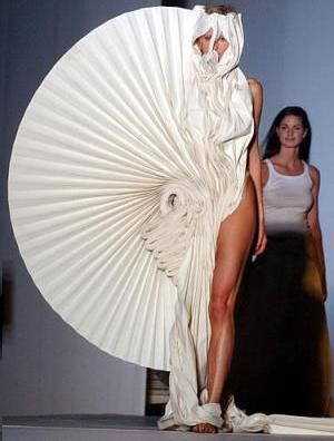 Dramatic Sculptural Fashion - 3D folded fan, textured spiral dress; wearable art
