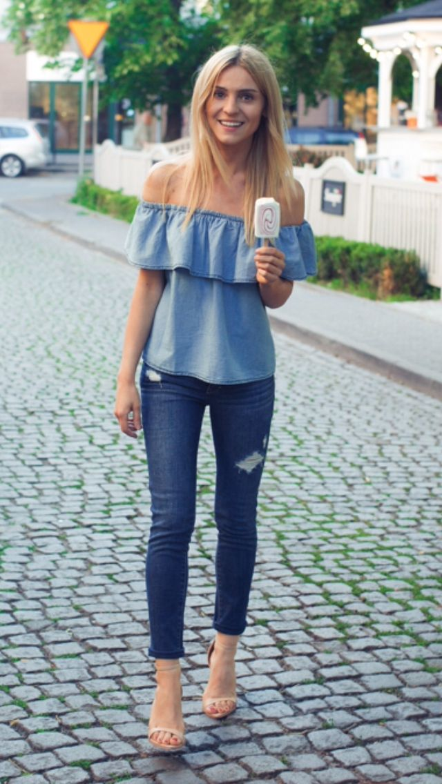 Denim on Denim, off shoulder