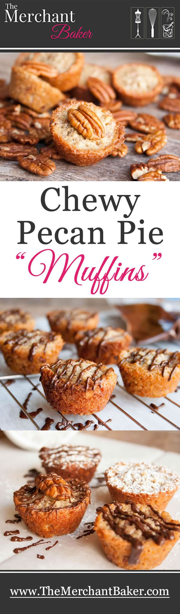 "Chewy Pecan Pie ""Muffins""-the flavor of pecan pie in a chewy little muffin cup. Mixes up quickly in one bowl with just 6 ingredients."