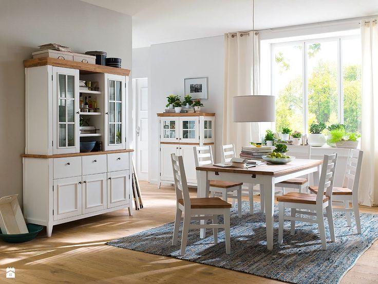 Białe meble drewniane z blatami w kolorze miodowo-koniakowym  - Jadalnia - Styl Prowansalski - Seart - meble z drewna