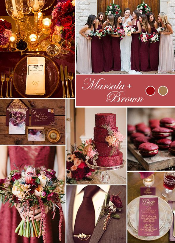 Pantone's 2015 Color Of The Year, marsala, is a fabulous way to pay homage to the fall season. The wine colored hue paired with a soft brown combine to make a sophisticated color palette we can't get enough of. Wedding Colors, Fall Wedding Ideas, Pantone Color of the Year