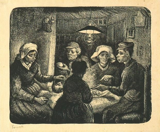 Vincent van Gogh: The Lithographs (The Potato Eaters). Drawn on he stone with lithographic crayon and brush in ink, scratched. Most of the impressions are in black ink, but two are in dark brown.