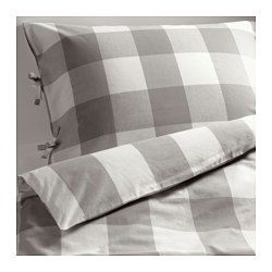 EMMIE RUTA Duvet cover and pillowcase(s), gray, white - gray/white - Full/Queen (Double/Queen) - IKEA