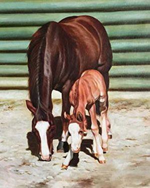 Pferde malen lassen! Kiss my Gunns mit seinem Fohlen