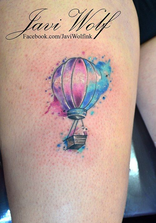 Watercolor Hot Air Balloon and curious bear.  Tattooed by @Javi Wolf