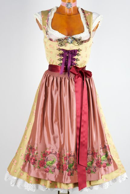 7329 Lola Paltinger Dirndl Happy Heidi nostalgia gold 36 - Dirndl dress costumes costume jewelry Lederhosen costume sky | Dirndl