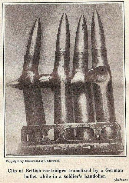 Немецкая пуля, застрявшая в обойме британского солдата. пуля, обойма, оружие, история