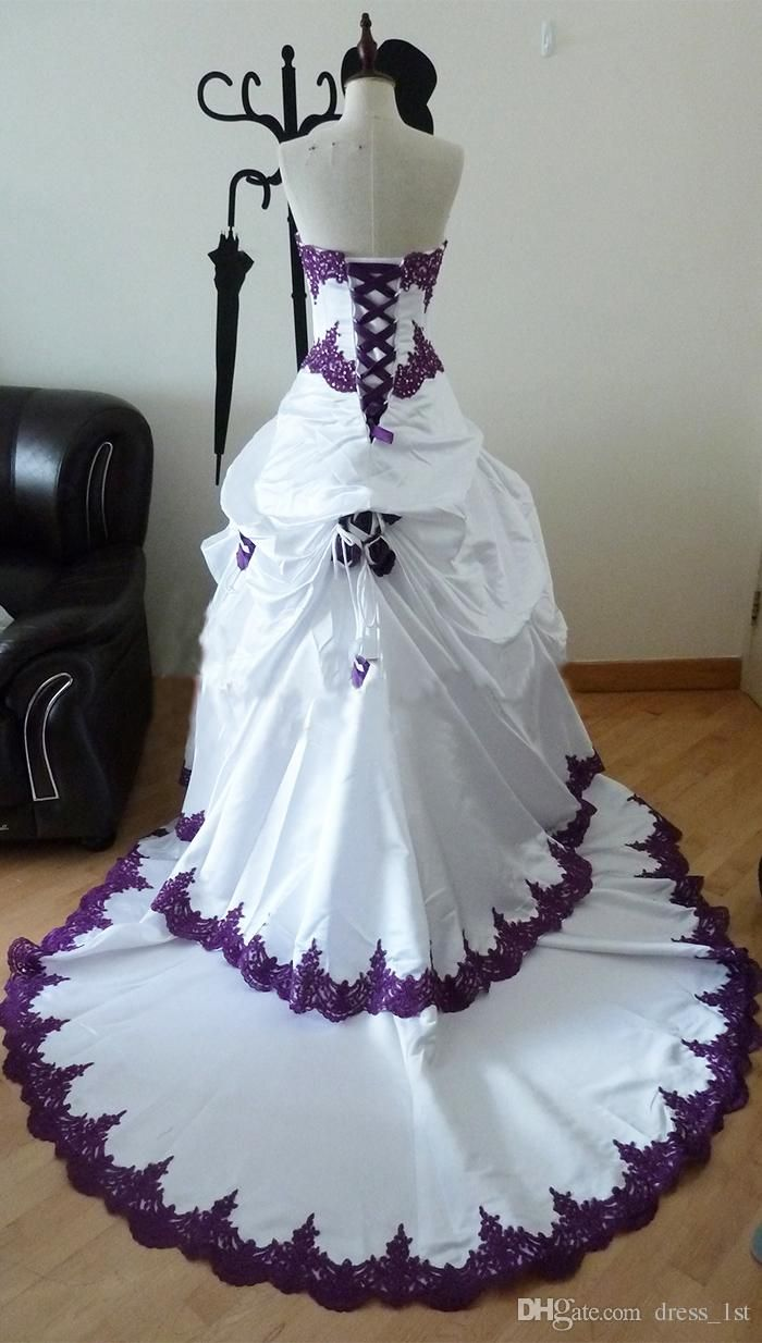 922230781 Gothic Wedding Dresses 2015 Taffeta Train Strapless Beads Applique Rose  A-Line vestido de novia Bridal Ball Gowns Custom Made