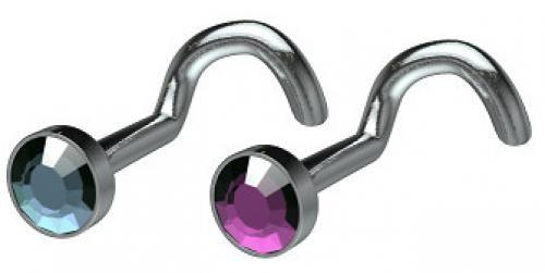 Clearance Titanium Flat Disc Jeweled Nostril Screw - 1