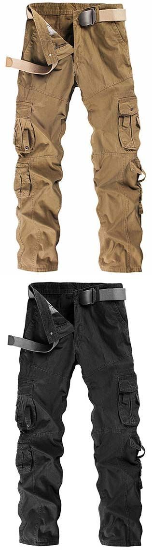Mens Cargo Pants Multi-pocket Solid Color Regular Fit Outdoor Spring Fall Trouser