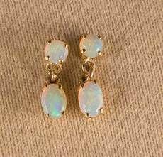 Gold Crystal Opal Stud Earrings