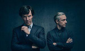 Benedict Cumberbatch as Sherlock Holmes and Martin Freeman as Dr Watson.