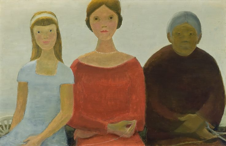 """This painting shows the fates, three female figures in classical mythology who spin all life from thread and determine a person's fortune or destiny. Lemieux has imagined them as three women in various stages of life. """"The Fates"""" (Les Parques), 1962, Winnipeg Art Gallery. #ArtCanInstitute"""