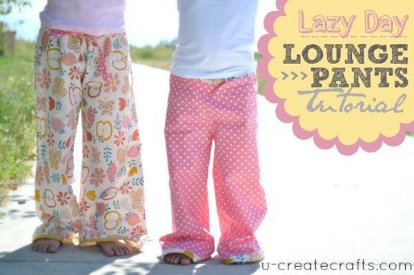 Lazy Day Lounge Pants TutorialSewing Machines, Lounges Pants, U Createcrafts Com, Pants Tutorials, Pajamas Pants, Kids, Lazy Days, Lounge Pants, Pj Pants
