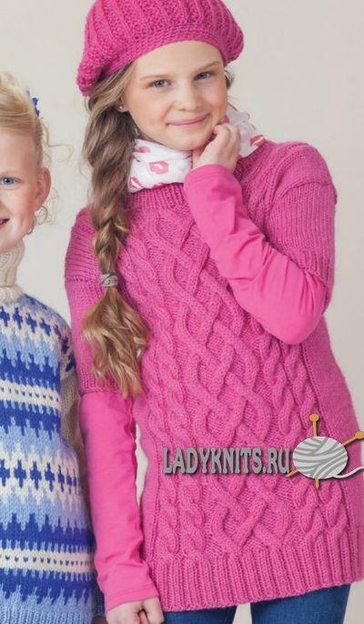 Вязаный спицами красивый джемпер с аранами для девочки от 2 до 12 лет.