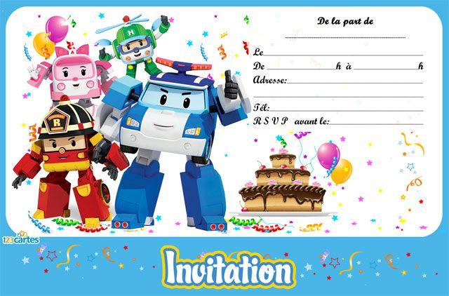 invitation anniversaire Robocar Poli avec les personnages Poli, Héli, Ambre et Roi