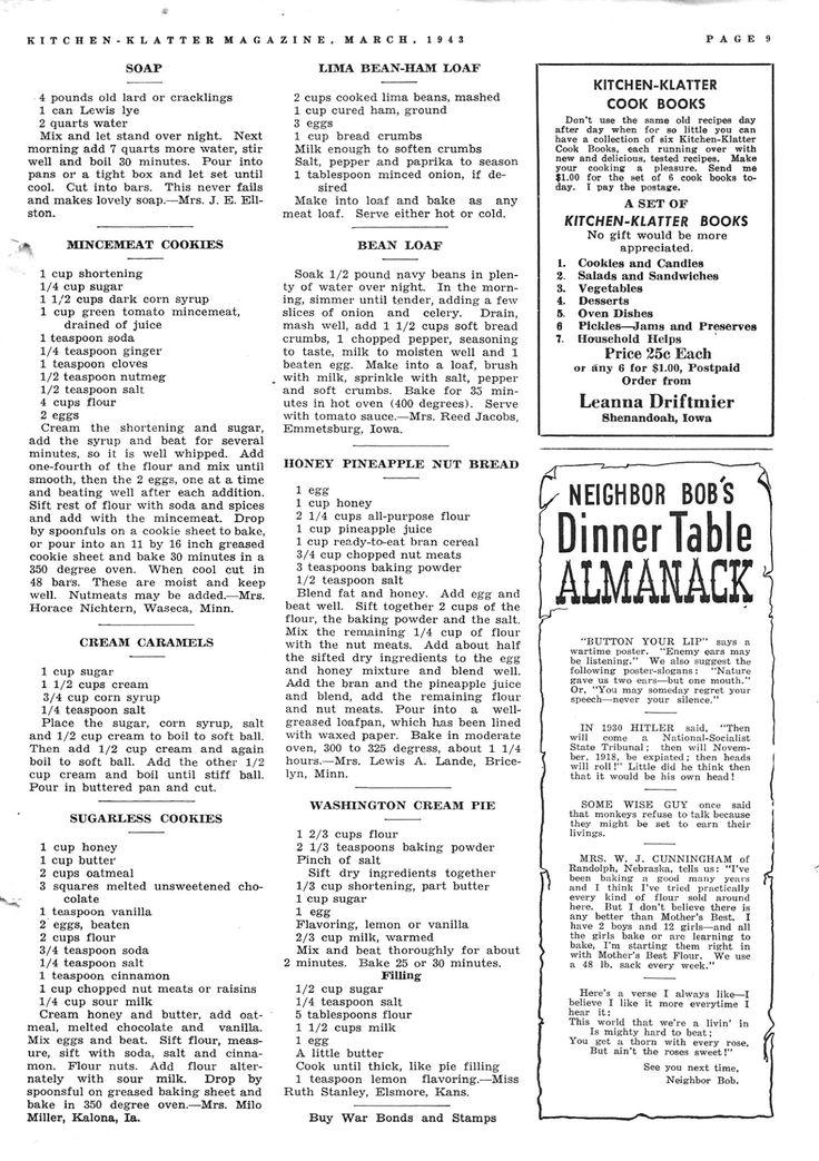 Kitchen Klatter Magazine, March 1943-2 Soap, Mincemeat Cookies, Cream Caramels, Sugarless Cookies, Lima Bean Ham Loaf, Bean Loaf, Honey Pineapple Nut Bread, Washington Cream Pie