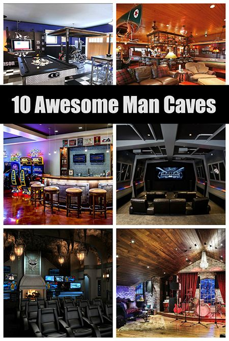 10 Awesome #ManCave Ideas - Who wouldn't want to hang out in any one of these spaces?