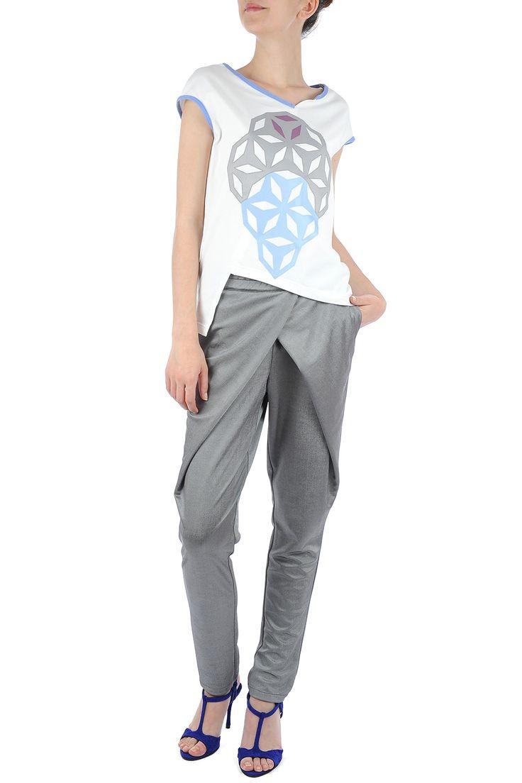 Pantaloni gri argintiu cu pliuri