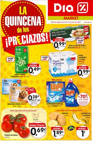 Ofertas supermercados DIA del 8 al 21 de Junio -  Folleto de supermercados DIA en vigor del 8 al 21de Junio de 2017 La quincena de los preciazos en Supermercados DIA, si quieres ahorrar dinero no lo dudes acércate a DIA.    #CatálogosDIA, #Catálogosonline   Ver en la web : https://ofertassupermercados.es/ofertas-supermercados-dia-del-8-al-21-de-junio/