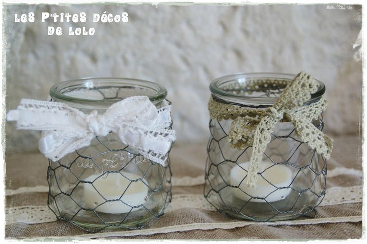Diy d co r cup faire des photophores style shabby chic for Petit bocal en verre pas cher
