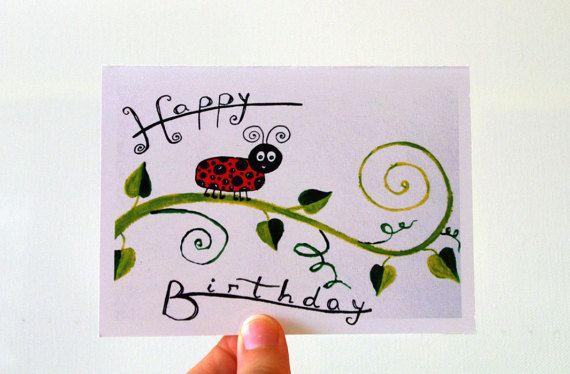 Ladybug birthday card for baby BIRTHDAY CARD Babies by artbyasta