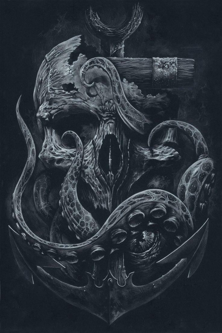THE LOCKER Custom Print Octopus Skull Anchor Black by grabinkART #nautical