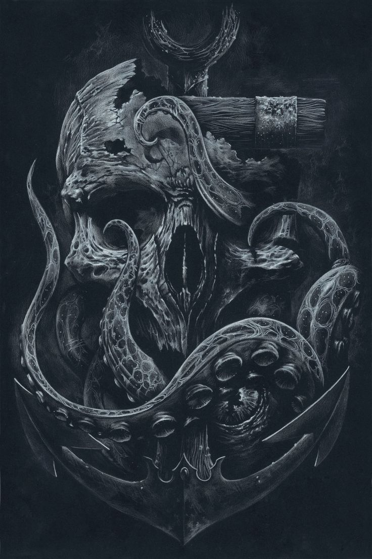 THE LOCKER Custom Print Octopus Skull Anchor Black by grabinkART #nautical